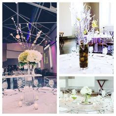Our centerpieces! DIY-Silk flowers. Variety of white and green hydrangeas, white peonies, white roses, branches, & blossoms. Perfect for Springtime wedding or add your own color-- FOR SALE