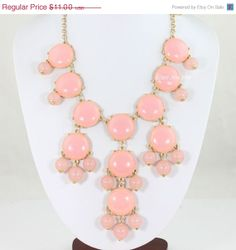 Pink Bubble Necklace, Light Pink Necklace, Statement Necklace  Bib necklace Bubble necklalce(FN076-Pink) on Etsy, $9.90