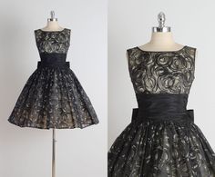 "Vintage 50's organza & taffeta ""Midnight Swirl"" print cocktail dress"