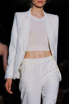 White blazer, crop top & pants, sporty chic fashion details // Pascal Millet Spring 2014