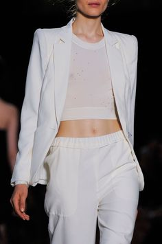 White blazer, crop top & pants, sporty chic fashion details // Pascal Millet Spring 2014
