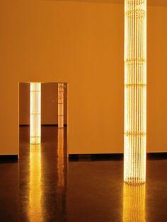Steel Partition Ideas: Golden lights, artist: Cerith Wyn Evans (at Bergen Kunsthall)