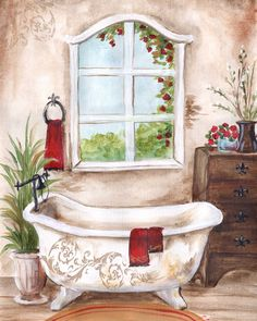 s art licensing program. Bathroom Prints, Bathroom Art, Red Towels, Etiquette Vintage, Decoupage Vintage, Bathroom Pictures, 5d Diamond Painting, Pretty Pictures, Watercolor Art
