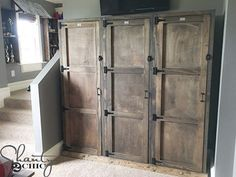 This locker system is 6ft tall and modular so you can build as many or as few as you need! I built them for my son's room but now I want them all over my house  Search locker system on our site for the free plans and how-to! #shanty2chic