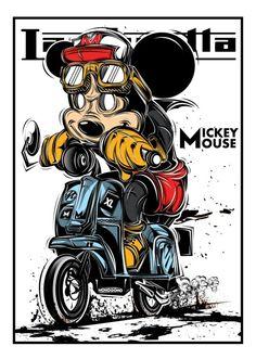 Mickey X Lambretta old work 2015 Graphic Design Posters, Graphic Design Illustration, Vespa Vector, Vespa Illustration, Modelos Pin Up, Mickey Mouse, Doodle Designs, Motorcycle Art, Retro Cars