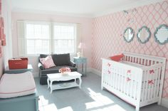 - Crib: White Lifetime Crib, Baby Cache, Babies R Us   - Crib Bedding: Serena & Lily Punch Basics & Aqua Mosaic crib sheet  - Wall Mirrors: Target (custom painted to match)   - Upholstered Double Glider: Sarah Double Glider by Four Seasons   - Wall Stencil: Large Rabat Design, Cutting Edge Stencils   - Carpet: Masland, color Sistine   - Paints: Sherwin Willams  SW6597 Hopeful (darker coral)  SW6595 Amour Pink (light coral)  SW6220 Interesting Aqua (aqua)