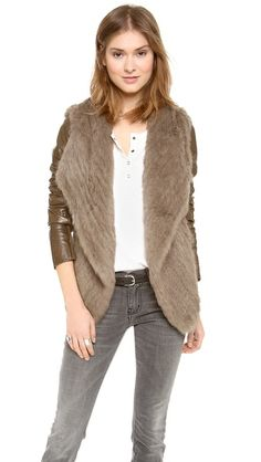June Knit Fur Jacket with Leather Sleeves $695