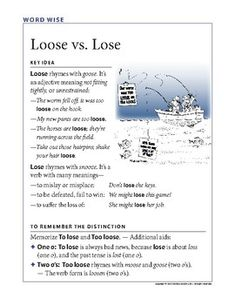 """This is another classroom aid in my """"Word Wise"""" series. It's a reminder of the difference between """"lose"""" and """"loose."""" It helps anchor the distinction with simple examples and a cartoon from my grammar collection. Follow me if you'd like to be notified of new products I post. Common Grammar Mistakes, Middle School, High School, Grammar Posters, Gain Followers, Make It Work, Teaching Ideas, Anchor, Lost"""