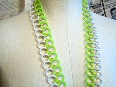 Lime Green and White Plastic Belt by thedepo on Etsy,