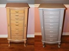 before & after jewelry armoire_small-sidebyside. http://drabtofabdesign.com/2012/01/jewelry-armoire-makeover/