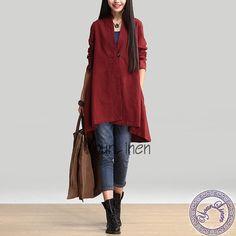 Wine Red Asymmetrical Shirt Linen Shirt Tops long sleeve shirt Casual Loose Fitting shirt organic linen shirt Long Sleeve shirt  Blouse E87