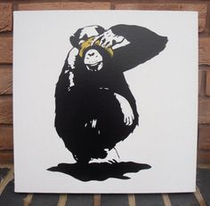3 Wise Monkeys  Spraypainted Stencil Painting on by Ramart79, £150.00