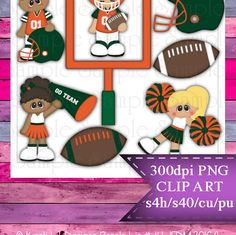 Clipart | Time For Football Orange Green | Kristi W. Designs Reseller |  for Personal & Commercial Use Instant Download