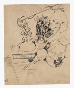 Still life of lamp, ruler, screwdriver etc drawn by John Vernon Lord in 1963.