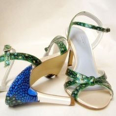 Shoes Bridal Wedding art deco painted peacock sandals by norakaren, $225.00
