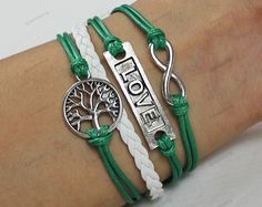 love tree bracelets green wax rope cuffhandmade by lifesunshine, $6.99