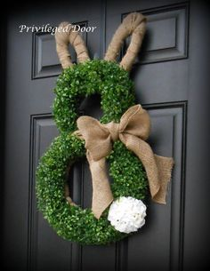~ Faux Boxwood and Burlap Bunny Wreath with Geranium Tail ~ A Complete E . - ~ Faux Boxwood and Burlap Bunny Wreath with Geranium Tail ~ A Complete Etsy Original. Thank you for - Hoppy Easter, Easter Bunny, Easter Eggs, Easter Crafts, Holiday Crafts, Selling Handmade Items, Deco Floral, Burlap Wreath, Boxwood Wreath
