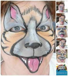 Striped Hyena Design by Denise Cold of Painted Party Face Painting www.PaintedParty.com. Done in Oriental, Gray, & Pink Starblends.