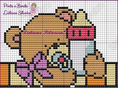 Pinta e Borda (Lidiane Silveira) Cross Stitch Cushion, Cross Stitch Baby, Cross Stitch Charts, Cross Stitch Patterns, Baby Dyi, Bobble Stitch, Cross Stitching, Just In Case, Crafts