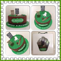 Cricket Design Birthday Cake Cricket Cake, Dad Cake, Sport Cakes, Boy Birthday, Birthday Cakes, Cake Toppers, Fondant, Catering, Cake Decorating