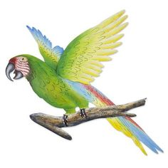 Handmade Green Macaw Wall Sculpture - Military Macaw | NOVICA