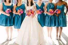 Teal bridesmaid dresses // photo by Kt Crabb Photography http://theeverylastdetail.com/2013/10/02/colorful-vintage-eclectic-winter-park-wedding/