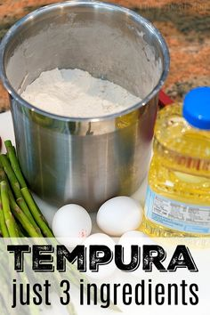 Tempura batter recipe that just needs 3 ingredients! You can make shrimp tempura, fried green beans and tempura vegetables at home. Its a great way to make a crunchy side dish the kids will definitely love. Sushi Recipes, Seafood Recipes, Appetizer Recipes, Cooking Recipes, Dinner Recipes, Appetizers, Pasta Recipes, Crockpot Recipes, Soup Recipes