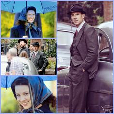 Outlander filming scenes Downhill Street, Glasgow w/Caitriona Balfe as Claire Randall Fraser and Tobias Menzies as Frank Randall - September 2016