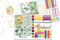 Planner Sticker Weekly Kit Tropical Summer for your Erin Condren Life Planner…