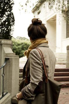 Hair up, scarf, longchamp.