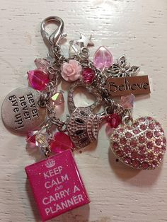 Carry A Planner Pink Glamour Glitter Girl Inspired Charm Pendant Planner Daytimer Filofax Purse Key