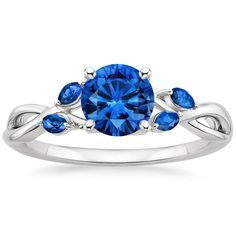 18K White Gold Sapphire Willow Ring With Sapphire Accents from Brilliant Earth