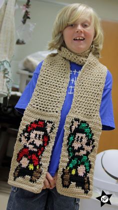 Super Mario & Luigi Scarf - Kids will never want to take off this scarf. Comes with a free crochet pattern and chart!