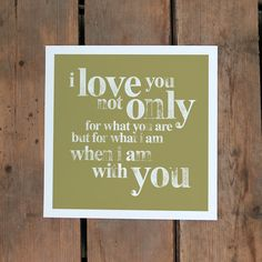 Make a romantic gesture with this Small I Love You Typography Print for a loved one.