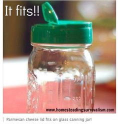 Parmesan cheese shaker lid fits on regular-mouth canning jar!  Re-use ideas abound.  (My mayo jar lids also fit.)