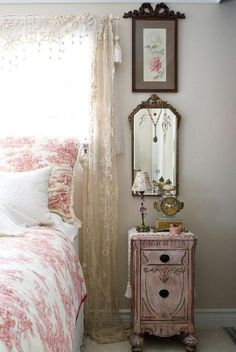 Nightstand by Vintage Recreations  French Art.. reminds me of my Grandmother's house. Awwwww