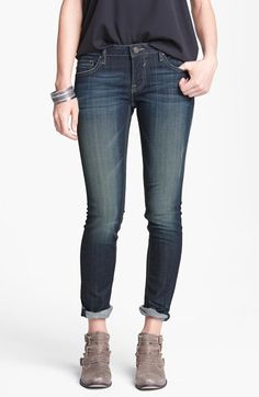 Free shipping and returns on Vigoss 'Thompson Tomboy' Crop Skinny Boyfriend Jeans (Dark) (Juniors) at Nordstrom.com. Super-faded whiskered denim and contrast topstitching heighten the visual dimension on a pair of cropped roll-cuff skinnies.