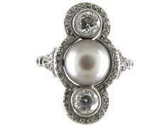 Natural Grey Pearl  Diamond Art Deco Ring - The Antique Jewellery Company £2,950