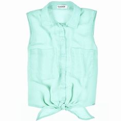 Tie-Front Chiffon Top This sleeveless chiffon shirt features a button down placket, chest pockets, and front tie hemline. Style it with a bandeau and you are set to go! 100% Polyester. Garage Tops