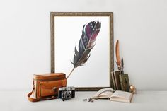 Printable Feather Poster Wall Art Printable Decor Instant Download Print Wall Decor Gift Idea Home Decor Purple Feather Printable Poster #Printable