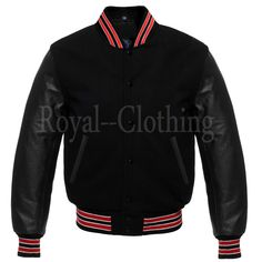 Varsity Letterman baseball All Black Wool Bomber style Red Trimming Jacket Royal Shop, Letterman Jackets, Mens Outdoor Jackets, Leather Sleeves, Royal Clothing, Superfly, Black Wool, Jean Jackets, All Black