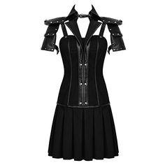 Punk Rave Military Dress Black Goth Steampunk Dieselpunk Leather... (335 PLN) ❤ liked on Polyvore featuring dresses, punk dress, gothic dresses, real leather dress, military inspired dresses and goth dress