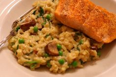 Risotto only sounds difficult, but all it takes is about twenty minutes of stirring time. Quickly sear the fish, and dinner is ready! Crispy Skinned Salmon with Mushroom and Leek Risotto
