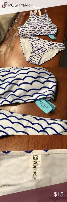 Adorable NWT halter top suit. Cupshe brand.  Small on both pieces. Never worn. I would say this is more of an XS/S fit.  Royal blue and white. A must have suit for summer cupshe Swim Bikinis