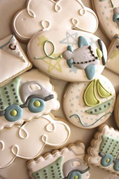 Toys on the move Baby Shower Cookies