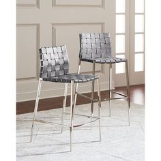 Interlude Home Kennedy Woven Leather Counter Stool (2,620 SAR) ❤ liked on Polyvore featuring home, furniture, stools, barstools, grey, leather counter height stools, leather bar stools, gray leather counter stools, grey leather counter stools and grey leather counter height stools