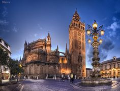 Catedral de Sevilla (the cathedral in Seville, Spain) and la Giralda (the belltower). Sipping Sangria looking down the hill at the Catedral, so memorable. Places To Travel, Places To See, Sevilla Spain, Andalusia Spain, Spain And Portugal, Destinations, Moorish, Spain Travel, Walking Tour