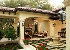 French Quarter Light on a Gooseneck by Bevolo Lighting. Love the courtyard design Spanish Style Homes, Spanish House, Spanish Revival, Spanish Colonial, Outdoor Rooms, Outdoor Living, Outdoor Decor, Home Design, Spanish Courtyard