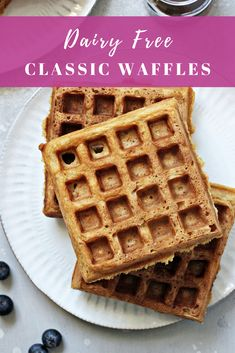 Crispy on the outside and fluffy on the inside, these classic dairy free waffles turn out beautifully every time! Quick and easy to make. Milk Free Waffle Recipe, Waffle Recipe Almond Milk, Homemade Almond Milk, Waffle Recipes, Homemade Waffles, Homemade Breakfast, Dairy Free Waffles, Fluffy Waffles, Dairy Free Breakfasts