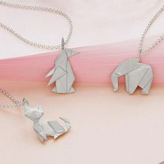 It seems that everyone has gone through a phase where they try their hand at origami, the art of Japanese paper folding. Memorialize those days with one of these cool Origami Menagerie Necklaces. Turquoise Jewelry, Jewelry Box, Silver Jewelry, Jewelry Necklaces, Cheap Jewelry, Silver Necklaces, Silver Pendants, Silver Rings, Jewelry Making